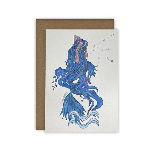 Aquarius Mermaid Zodiac Card