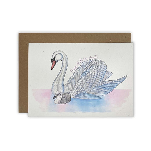 Swan & Cygnet Auntie Birthday Card