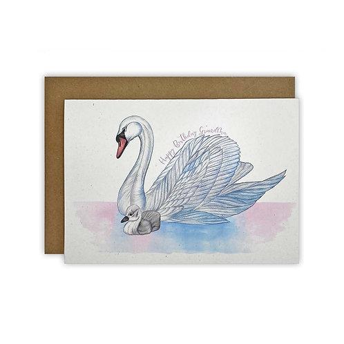 Swan &  Cygnet Grandma Birthday Card