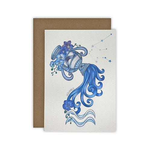 Aquarius Water Bearer Zodiac Card