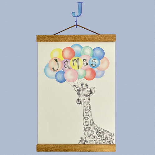 Personalised Giraffe Balloon Print