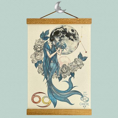 Cancer Mermaid Zodiac Print