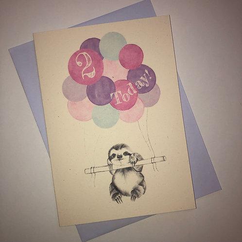 2nd Birthday Sloth Card