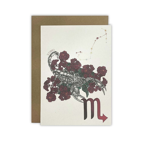 Scorpio Scorpion Zodiac Card