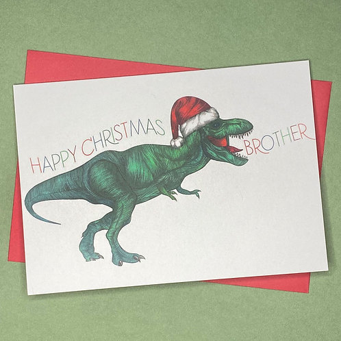 T-Rex Brother Christmas Card
