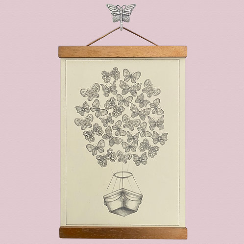 Butterfly Hot Air Balloon Print