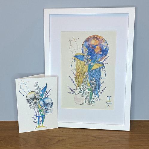 Gemini Zodiac Print and Card Set
