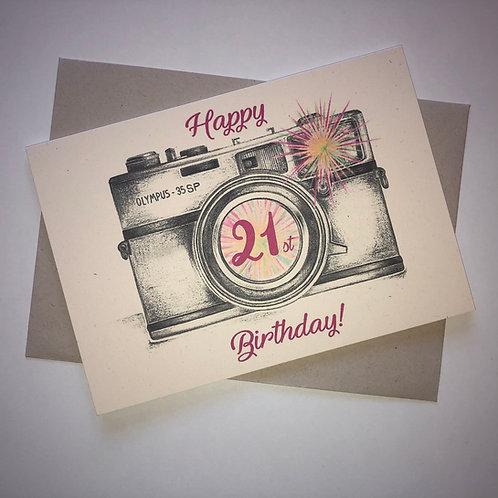 21st Birthday Camera Card- Pink