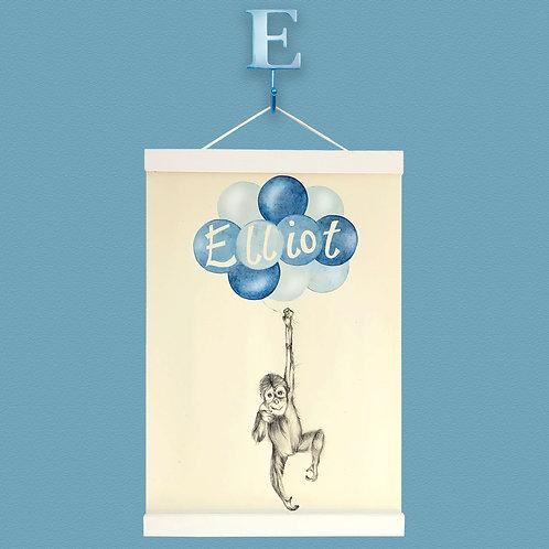 Personalised Baby Orangutan Balloon Print