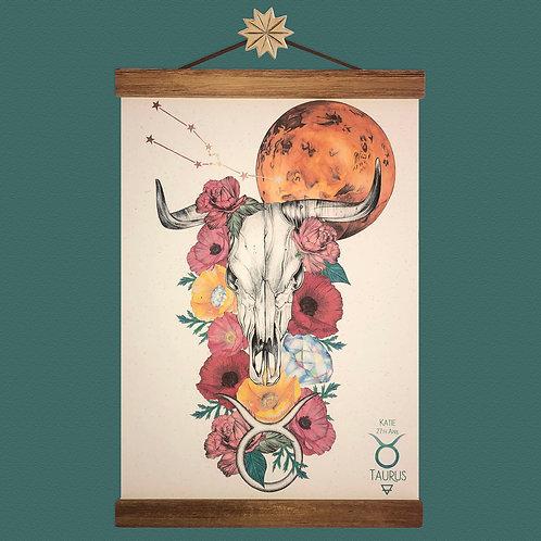Taurus Skull Zodiac Print