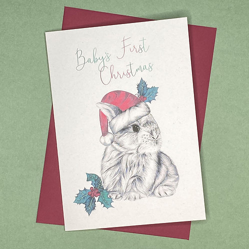 Baby's First Christmas Bunny Card