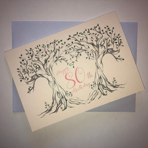 80th Birthday Tree Card