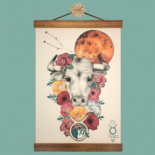 Taurus Bull Zodiac Print