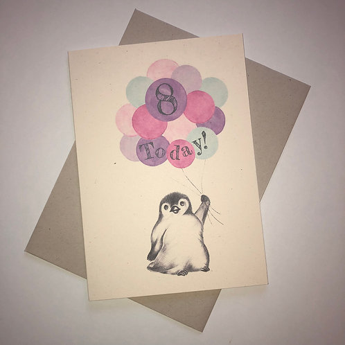 8th Birthday Little Penguin Card