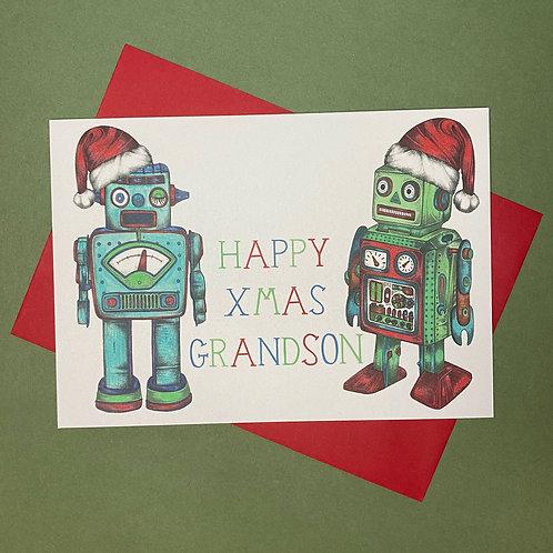 Christmas Robot Grandson Card