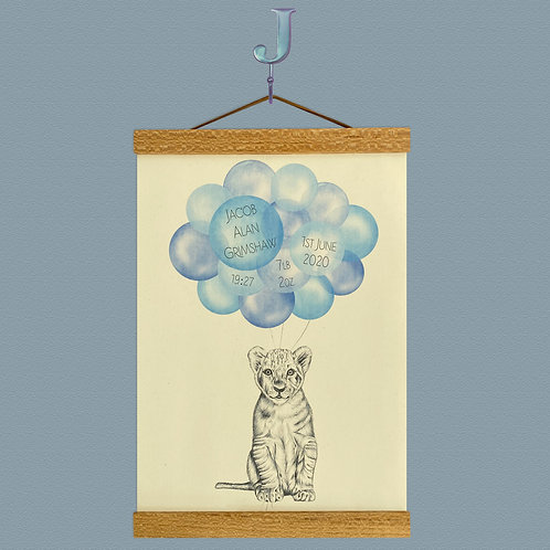 Personalised Lion Cub Balloon Print