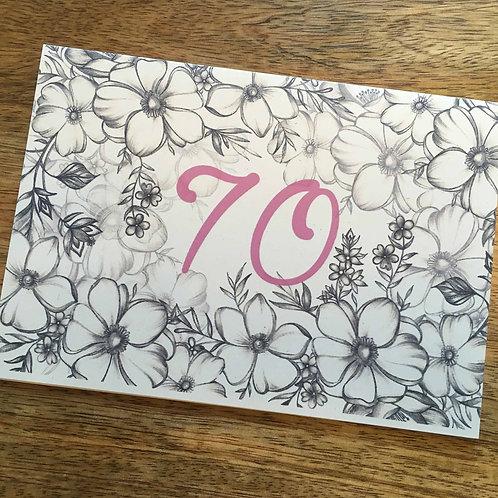 70th Birthday Flower Card