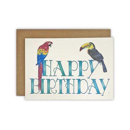 Toucan & Parrot Birthday Card