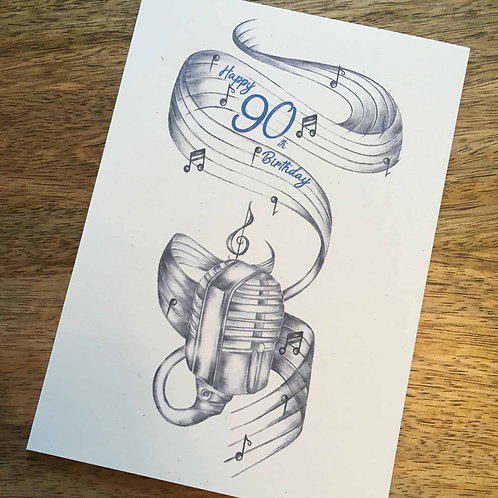 90th Birthday Microphone Card