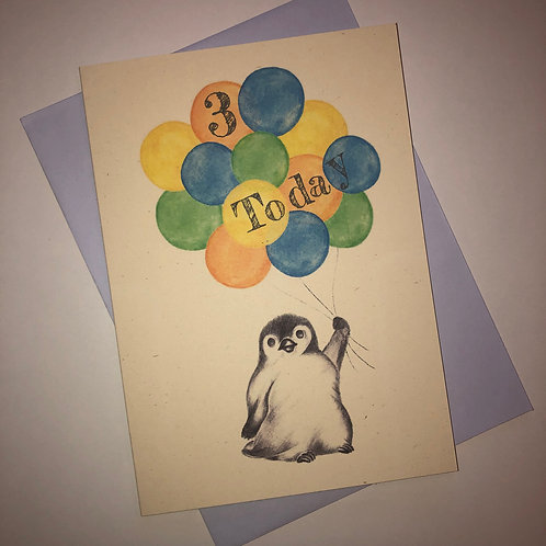 3rd Birthday Little Penguin Card