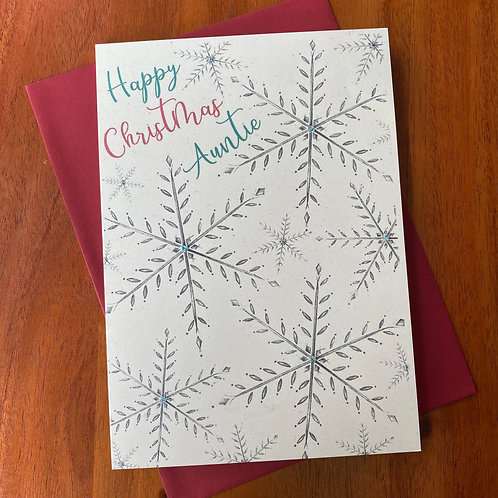 Auntie Christmas Card- Snowflakes
