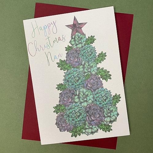 Succulent Christmas Tree Nan Card