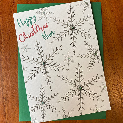 Nan Christmas Card- Snowflakes
