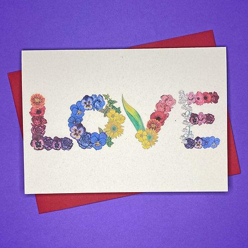 'LOVE' Rainbow Flowers Card