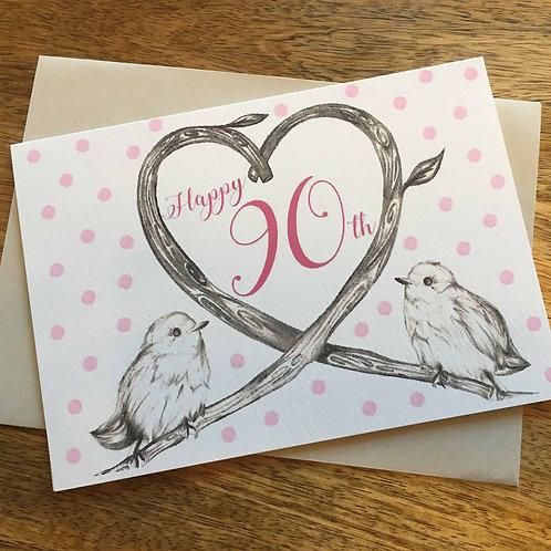 90th Birthday Birds Card