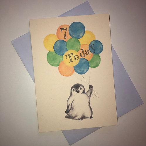 7th Birthday Little Penguin Card