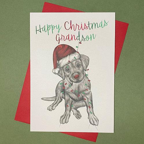 Christmas Labrador Grandson Card