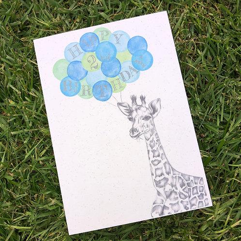2nd Birthday Giraffe Card