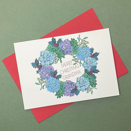 NEW! Personalised Succulent Wreath Christmas Card- Add Any Name!