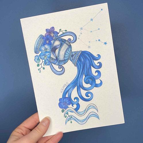 Aquarius Zodiac Card