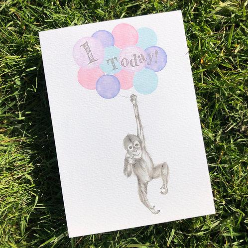 1st Birthday Orangutan Card