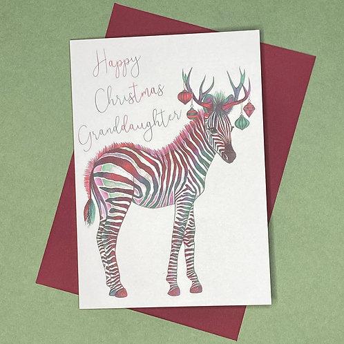 Christmas Zebra Granddaughter Card