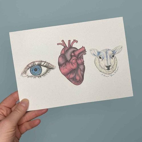 'Eye Heart Ewe' Mothers Day Card