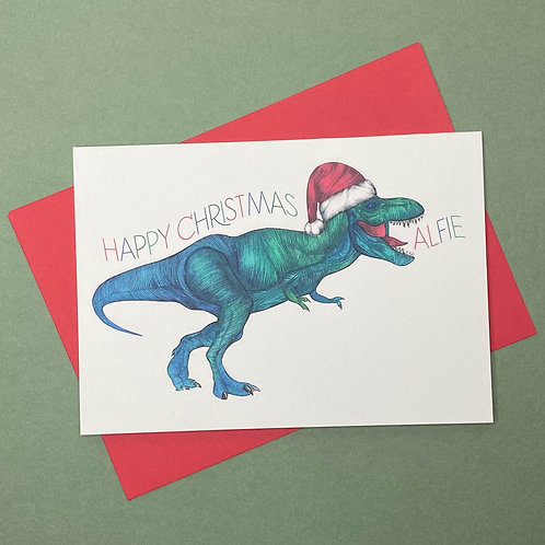 Personalised T-Rex Christmas Card- Add Any Name!