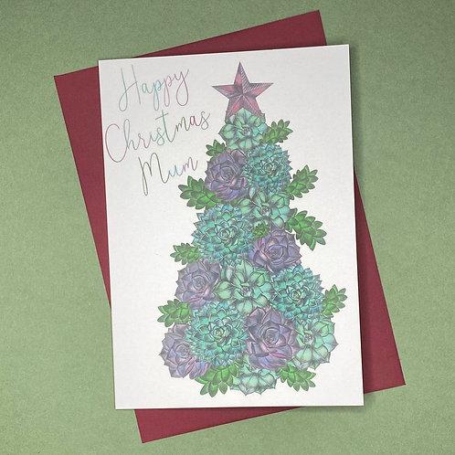 Succulent Christmas Tree Mum Card