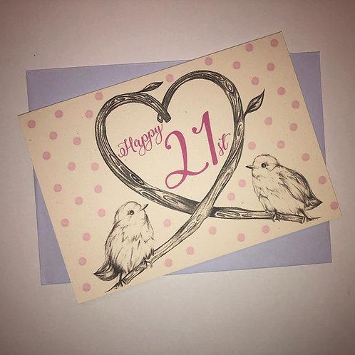21st Birthday Birds Card