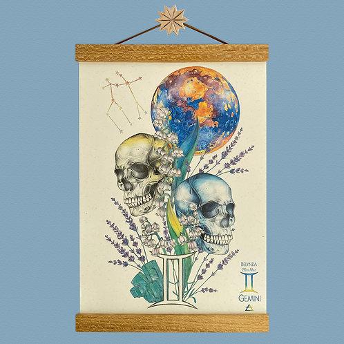 Gemini Skulls Zodiac Print