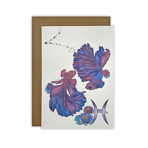 Pisces Fish Zodiac Card/ Mini Print