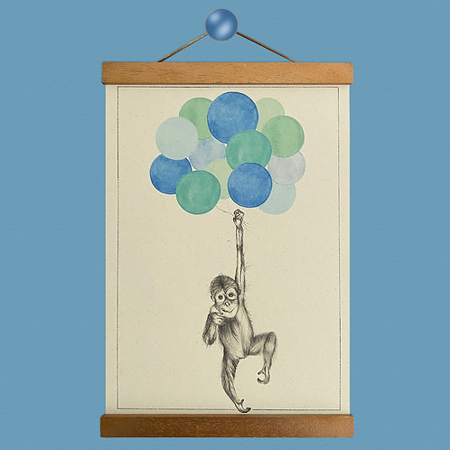Orangutan Balloon Print- Blues