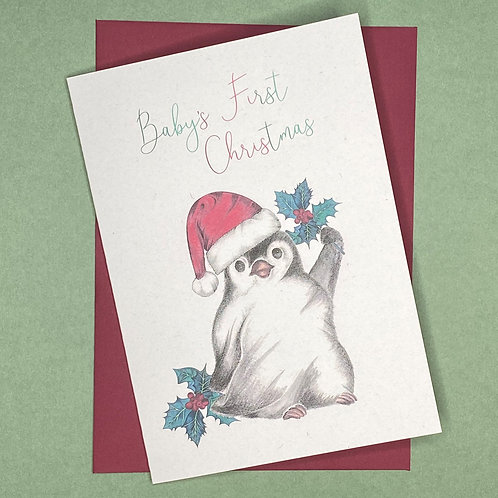 Baby's First Christmas Little Penguin Card
