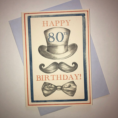 80th Birthday Top Hat Card