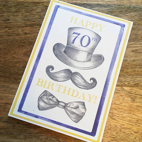 70th Birthday Top Hat Card