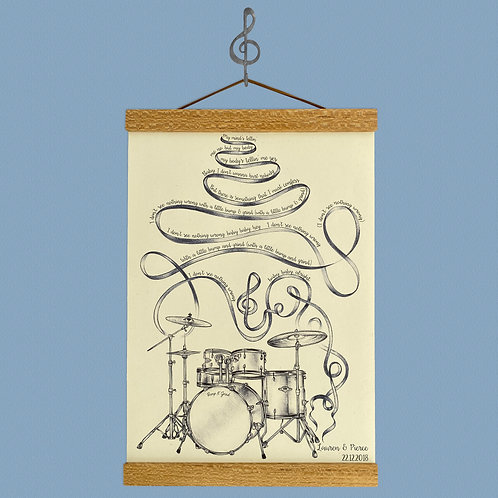 Personalised Drum Kit Lyrics Print