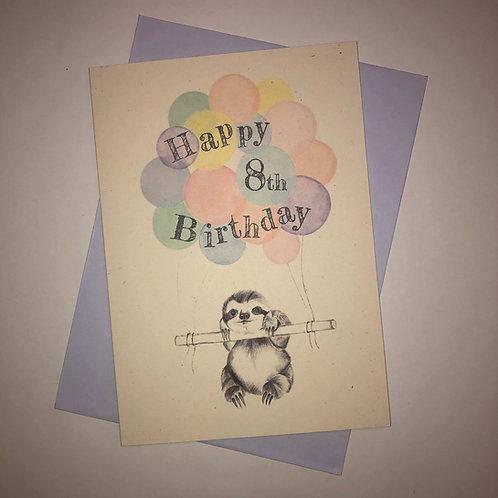 8th Birthday Sloth Card