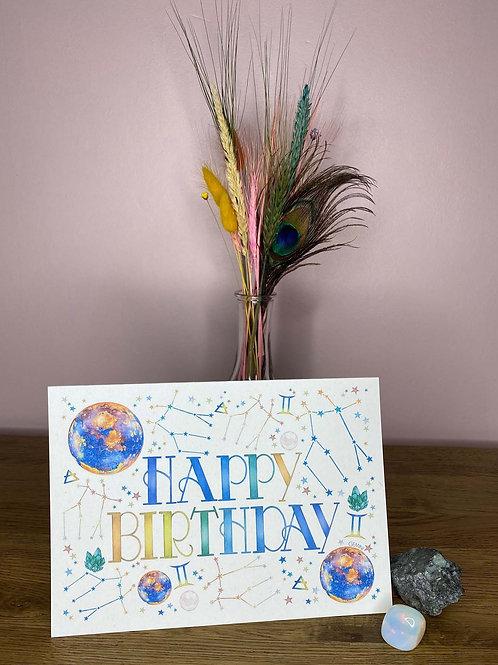 Gemini Zodiac Birthday Card