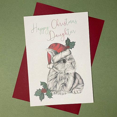 Christmas Bunny Daughter Card